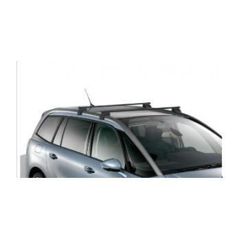 jeu de 2 barres de toit transversales acier pour vehicule avec barres longitudinales. Black Bedroom Furniture Sets. Home Design Ideas